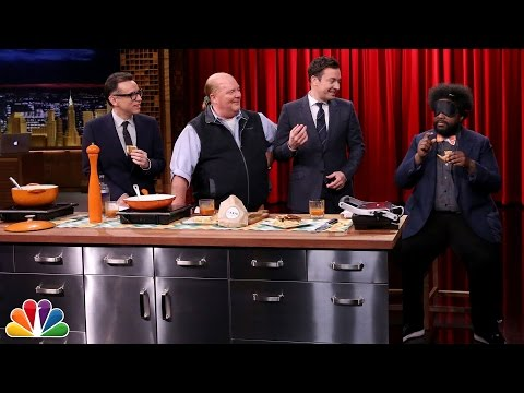 Mario Batali and Jimmy Have a Grilled Cheese Cook-Off