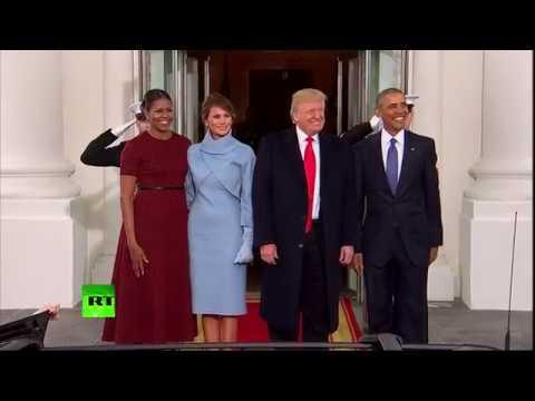 Трамп с супругой в ходе инаугурации встретились с четой Обама - DomaVideo.Ru