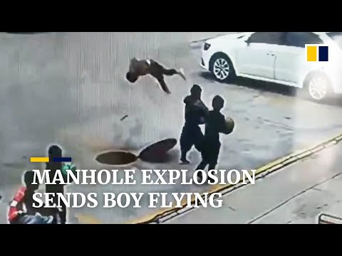 Boy throws firecracker into manhole, causing explosion that sends him flying
