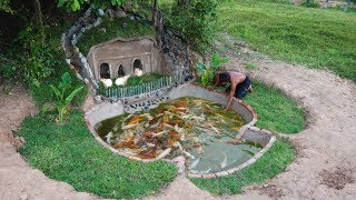 Building Mud House Mouse And Fish Pond For Red Fish  Most Beautiful