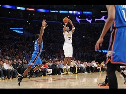 Thunder - Lakers highlights: http://www.nba.com/video/lakers Jodie Meeks scored a career-high 42 points to lead the Los Angeles Lakers over the Thunder. Visit nba.com/...