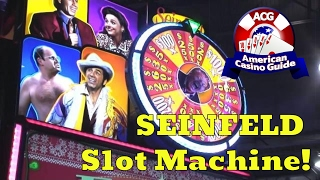 Gambling author and casino expert, Steve Bourie, takes a look at the new Seinfeld slot machine from Scientific Games which was introduced at the 2016 Global Gaming Expo in Las Vegas. The game is expected to be introduced into casinos throughout the U.S. by mid-2017. Play FREE social casino slots - http://www.americancasinoguide.com/play-free-slots These slots are only for fun and no money is involved. All new players get FREE BONUS CHIPS!Get more than 200 casino coupons and save more than $1,000 - http://www.americancasinoguide.com/order-now.html SUBSCRIBE for more videos: http://bit.ly/1G4l0xvTips on Blackjack: http://y2u.be/5ki_92QrqfITips on Slot Machines: http://y2u.be/7Wkubf1PrWgTips on Craps: http://y2u.be/7daSiVupvmYTips on Video Poker: http://y2u.be/gLYQ3ZIowPAFor the latest news and insights on casinos visit: http://blog.888casino.com/