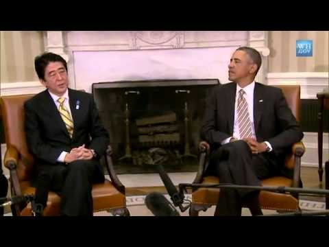 abe - President Obama and Prime Minister Shinzo Abe of Japan speak to the press after a bilateral meeting in the Oval Office. February 22, 2013. Read