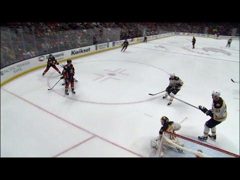 Video: Ducks' Manson banks a goal off Chara's foot