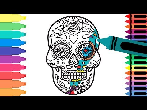How to Draw Mexico Sugar Skull - Coloring Pages Mexican Día de Muertos Calavera - Tanimated Toys