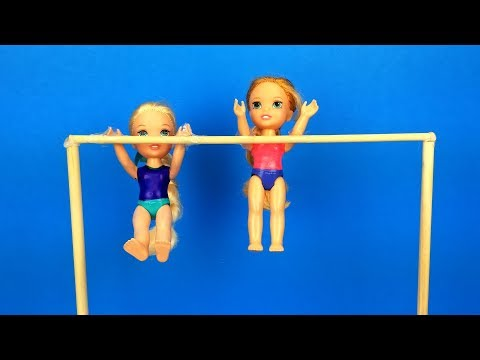 Gymnastics Class ! Elsa And Anna Toddlers Learn New Tricks - Barbie Is The Coach - Exercises