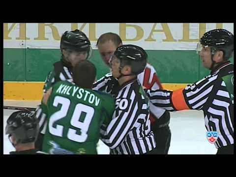 Драка КХЛ : Хлыстов vs Бадюков / KHL Fight: KHLystov smashes Badyukov's face (видео)