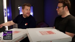 """James invites Seth Rogen to join him on pizza deliveries around Los Angeles offering customers a choice: stick with their pizza or take whatever is in the mystery pizza box, which includes stunts with Dominic Cooper.More Late Late Show:Subscribe: http://bit.ly/CordenYouTubeWatch Full Episodes: http://bit.ly/1ENyPw4Facebook: http://on.fb.me/19PIHLCTwitter: http://bit.ly/1Iv0q6kInstagram: http://bit.ly/latelategramWatch The Late Late Show with James Corden weeknights at 12:35 AM ET/11:35 PM CT. Only on CBS.Get new episodes of shows you love across devices the next day, stream live TV, and watch full seasons of CBS fan favorites anytime, anywhere with CBS All Access. Try it free! http://bit.ly/1OQA29B---Each week night, THE LATE LATE SHOW with JAMES CORDEN throws the ultimate late night after party with a mix of celebrity guests, edgy musical acts, games and sketches. Corden differentiates his show by offering viewers a peek behind-the-scenes into the green room, bringing all of his guests out at once and lending his musical and acting talents to various sketches. Additionally, bandleader Reggie Watts and the house band provide original, improvised music throughout the show. Since Corden took the reigns as host in March 2015, he has quickly become known for generating buzzworthy viral videos, such as Carpool Karaoke."""""""