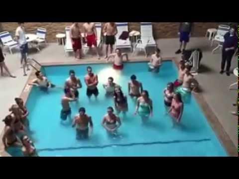 Stillwater Concert Choir singing in hotel pool