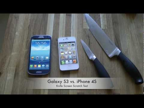 Galaxy S3 vs iphone 4S - Xperia Z vs. Galaxy S3 - Knife Test: https://www.youtube.com/watch?v=NmdA2QXtxnE Which is the most durable smartphone when you scratch the screen?