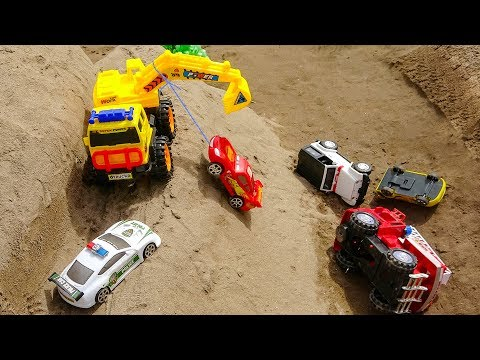 Fire Truck, Backhoe And Police Car Toys Rescue Disney Car On The Crash | Cars And Toys