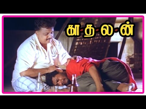 Kadhalan Tamil Movie   Scenes   Prabhu Deva reveals he loves Nagma to SPB   Girish Karnad