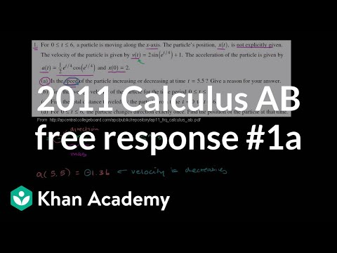 2011 Calculus AB Free Response 1a Video Khan Academy