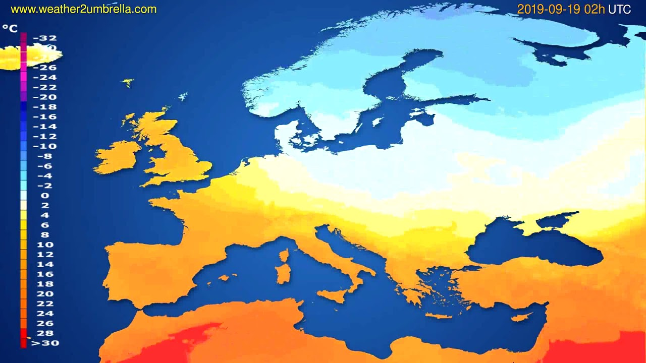 Temperature forecast Europe // modelrun: 00h UTC 2019-09-16