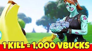 every kill = 1,000 FREE VBUCKS to randoms in fortnite...