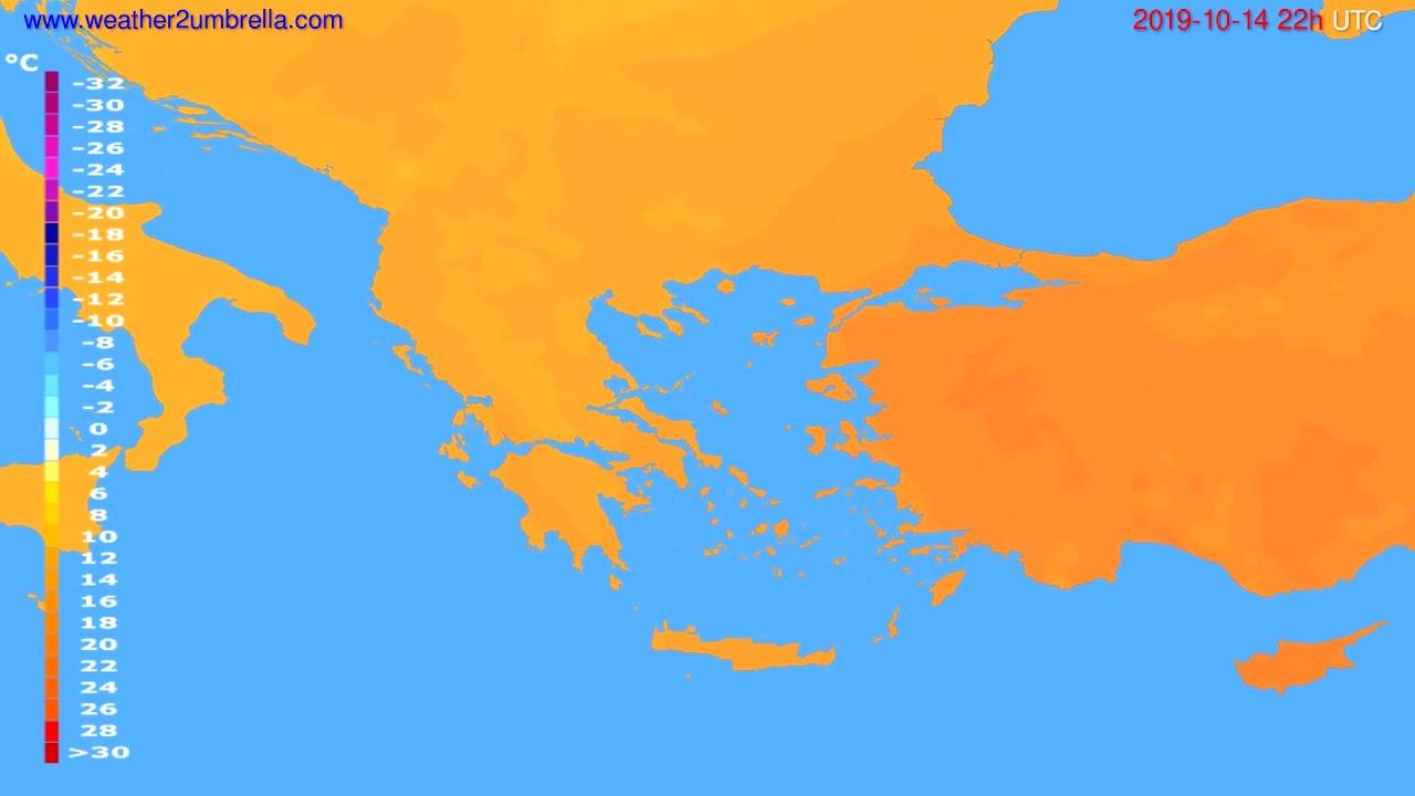 Temperature forecast Greece // modelrun: 12h UTC 2019-10-11