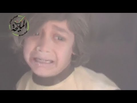 Children - Dramatic footage has emerged of children being rescued in the aftermath of an air strike on the town of Mleiha, Syria. . Report by Sarah Kerr.