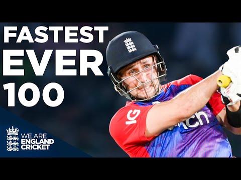 Liam Livingstone Smashes England's Fastest EVER T20I 100 Off Just 42 Balls   England v Pakistan 2021