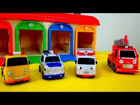 Tayo juega y coches de servicio. Video de juguetes.