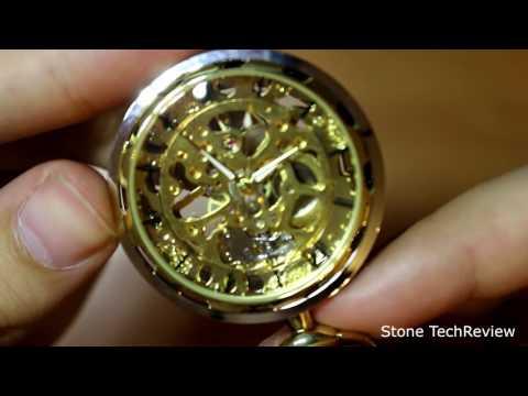 Unboxing XLORDX Vintage Gold Zahnrad Ritzel Hohe Openwork Handaufzug Mechanische Taschenuhr