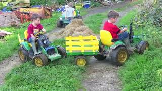 Kids Playing on ride on tractors loading hay, children play on the farm TRACTOR SONG