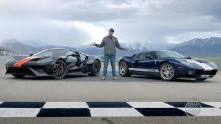 The all-new 2017 Ford GT takes on its predecessor, a 2005 Ford GT, to see how these mid-engine machines compare in styling, performance, and long-term investment potential. Executive Publisher and Ford GT owner, Karl Brauer, gives you the scoop.Kelley Blue Book is your source for new car reviews, auto show coverage, features, and comparison tests. Subscribe to catch all the latest Kelley Blue Book videos. http://www.youtube.com/subscription_center?add_user=kbb