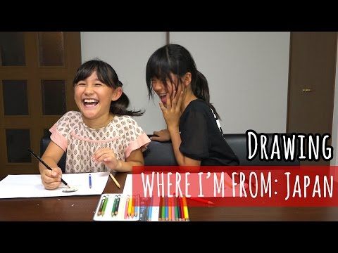 A Japanese and half Japanese Kid Draw their Homes, Families, and Favourite Animals