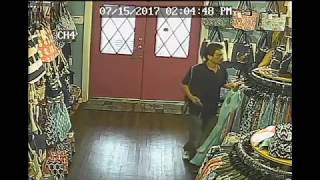 """Surveillance video released by Yarmouth Police of a suspect wanted in several """"upskirting"""" incidents in local stores. See full story..."""