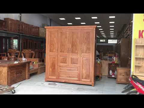 Tủ quần áo gỗ Đinh Hương 4 cánh mẫu đồng tiền cao cấp tại Đồ Gỗ Cường Nga