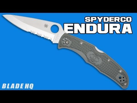 "Spyderco Endura 4 Knife Tactical Black FRN Folder (3.75"" Black Serr) C10PSBBK"