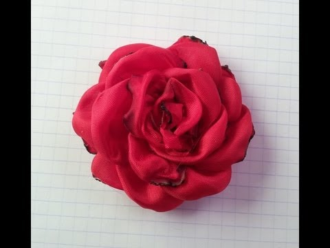 ROSA ROJA EN TELA,FLOR HECHA A MANO (RED ROSE IN FABRIC, FLOWERS).avi