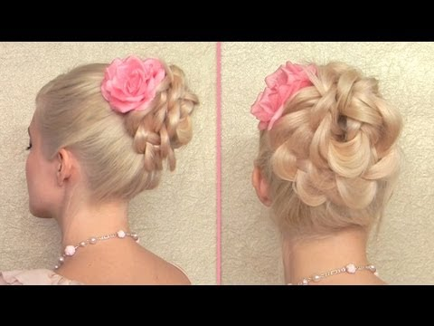 Easy updo hairstyle for long hair Braided flower bun tutorial for prom, wedding party 2013