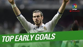 "TOP 10 Early Goals LaLiga since 2009:10.- Gareth Bale, 73"", Real Sociedad vs Real Madrid 2016/2017 9.- Munir, 64"", Malaga CF vs FC Barcelona 2015/20168.- Alvaro Morata, 53"", RC Deportivo vs Real Madrid 2016/20177.- Karim Benzema, 22"", Real Madrid vs FC Barcelona 2011/2012 6.- Gonzalo Escalante, 18"", SD Eibar vs Osasuna 2016/20175.- Carlos Carmona, 14"", Real Sporting vs Real Sociedad 2015/20164.- Oliver Torres, 13"", Atletico Madrid vs Real Betis 2013/20143.- Jose Antonio Reyes, 12"", Sevilla FC vs Real Betis 2012/20132.- Florin Andone, 9"", Cordoba CF vs SD Eibar 2014/20151.- Seydou Keita, 8"", UD Almeria vs Valencia CF 2013/2014Subscribe to the Official Channel of LaLiga in High Definition http://goo.gl/Cp0tCLaLiga Santander on YouTube: http://goo.gl/Cp0tCLaCopa on YouTube: http://bit.ly/1P4ZriPLaLiga 123 on YouTube: http://bit.ly/1OvSXbiFacebook: https://www.facebook.com/lfpoficialTwitter: https://twitter.com/LaLigaInstagram: https://instagram.com/laligaGoogle+: http://goo.gl/46Py9"