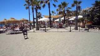 Playa Nueva Andalucia - Costa del Sol. Beach in Marbella between Puerto Banus and San Pedro de Alcántara easily accessible, calm sea protected by stone ...