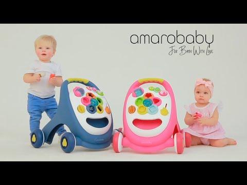 Ходунки каталка. Каталка детская AmaroBaby видео