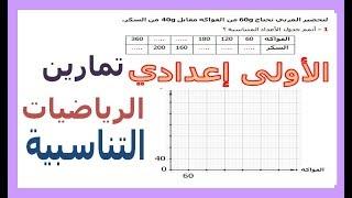 الرياضيات الأولى إعدادي - التناسبية تمرين 1
