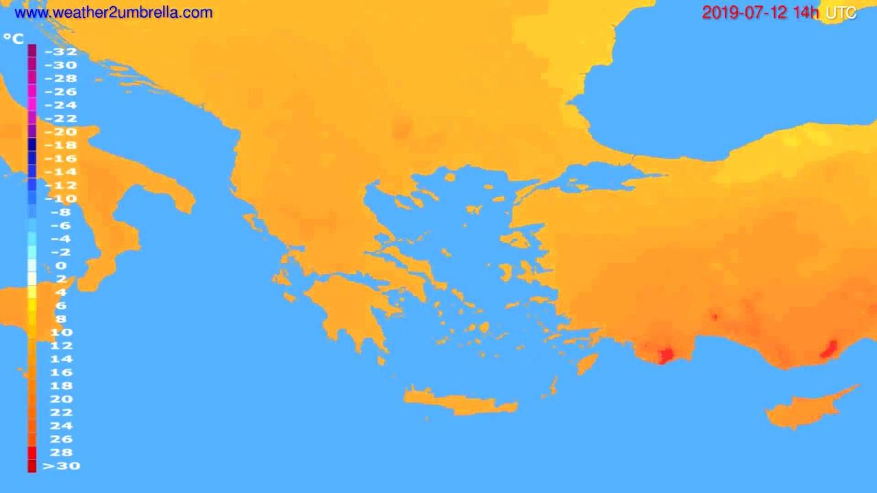 Temperature forecast Greece // modelrun: 00h UTC 2019-07-10