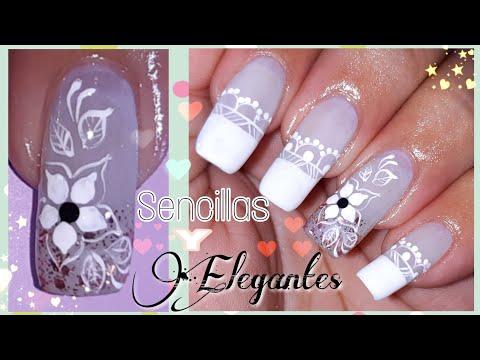 Uñas decoradas - Diseño de uñas en blanco/Decoración de uñas sencillo y elegante/uñas bonitas fácil paso a paso