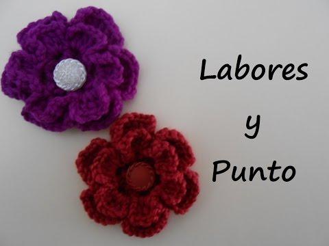 Aprende a tejer una flor con doble petalo a ganchillo