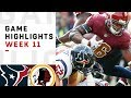 Texans vs. Redskins Week 11 Highlights | NFL 2018