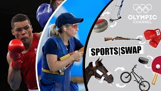 Can Olympic boxing Silver medallist Joe Joyce hit any clays trying skeet shooting for the first time? And does Amber Hill have what it takes to become a boxer? Check out the fun exchanges when the British athletes try the Sports Swap.Check out the Sports Swap series where Olympians try each others sport: http://bit.do/SportsSwapENSubscribe to the Olympic Channel here: http://bit.ly/1dn6AV5