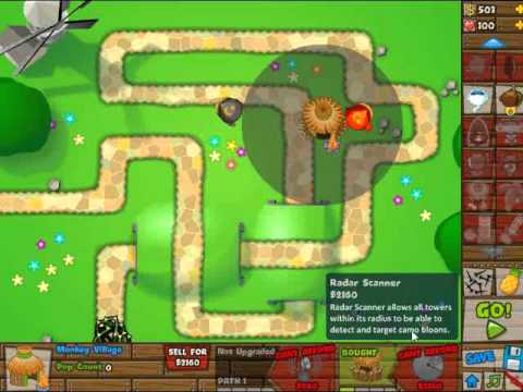 BTD5 Bloons Tower Defense 5 Walkthrough - Hard Mode - Track 1 - 0 Lives Lost