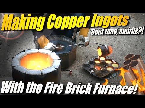 Melting Copper in Ingots using my Fire Brick Furnace and a Propane Burner