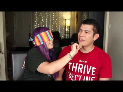 Wife does Husbands makeup Blindfolded!