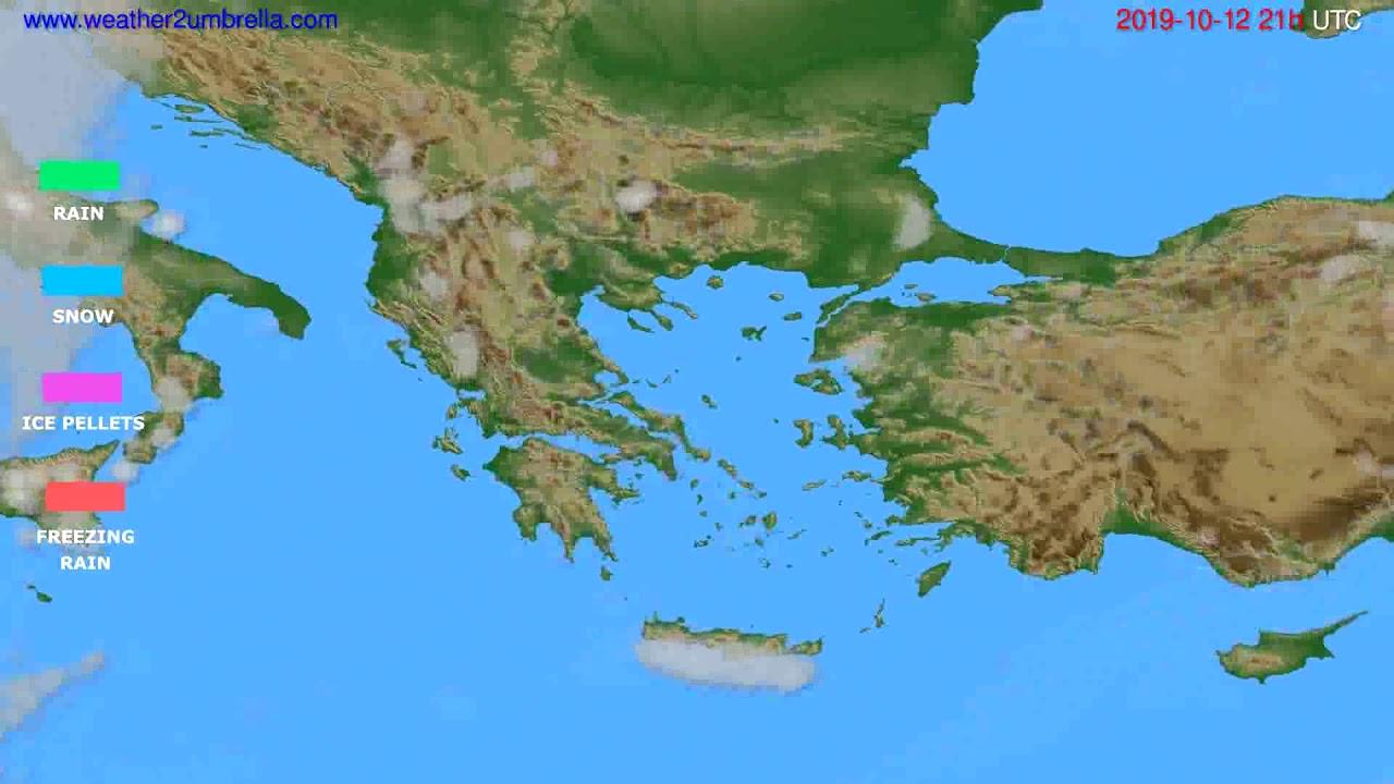 Precipitation forecast Greece // modelrun: 12h UTC 2019-10-10