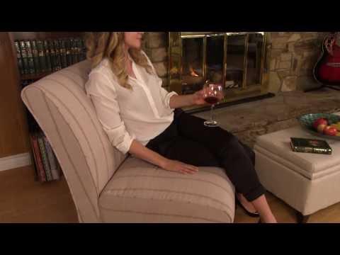 Melton Sandstone Striped Linen Wide Slipper Chair