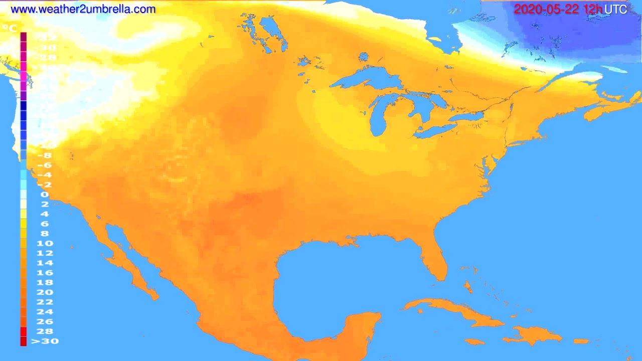 Temperature forecast USA & Canada // modelrun: 00h UTC 2020-05-22