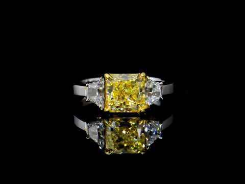 GIA Certified 2.20ct Cut-Cornered Square Cut 'Internally Flawless' Fancy Yellow Diamond Ring