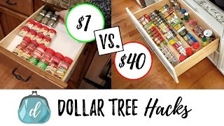 DOLLAR TREE HACKS to organize spice drawers + cabinets