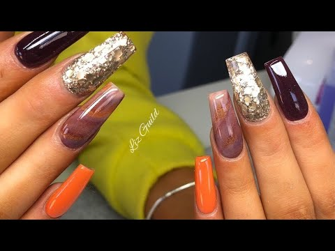 Autumn / Fall Acrylic Nails Design / How To